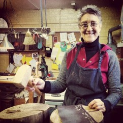 Sarah McIntosh, founder of the Chicago School of Shoemaking and Master Cobbler. She even made the mallet!