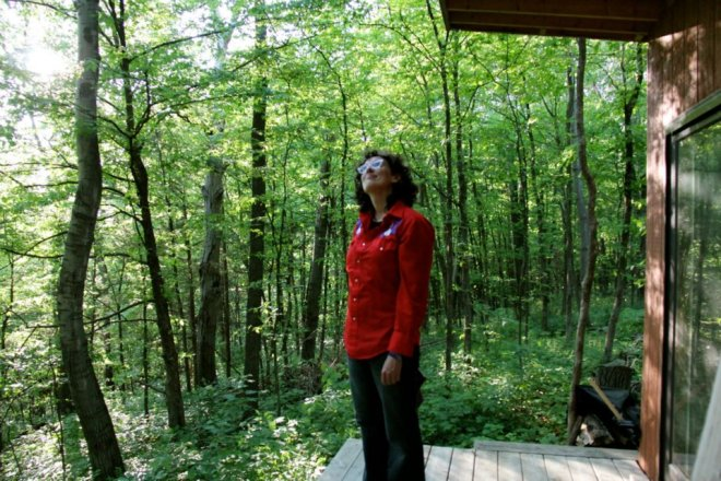 Jenny escaping the city to regain her sanity at the cabin she built in Wisconsin. (photo: Tona Williams)