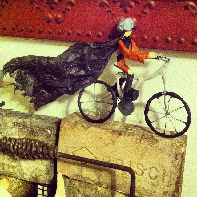 My friend Catherine riding her bike. Paper mache hobby experiment #3. Nailed it.