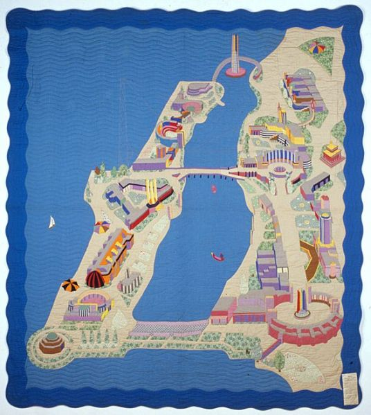 1933 map quilt Birds Eye View of the Chicago World's Fair