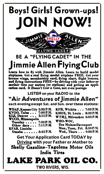 Skelly Oil sponsored the Jimmie Allen Flying Club membership offer, circa 1933. Building models was huge during this period--tiny future airplane assemblers were being created everywhere!