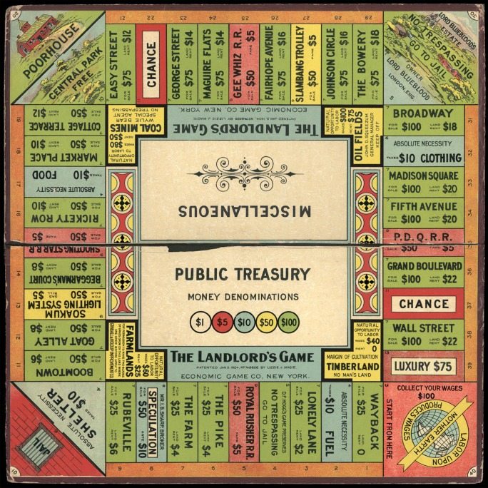 The Landlord's Game, a game promoting social and economic justice that was ripped of by Parker Brothers in the 1930s and turned into a game of (fun) greedy land grabs. Monopoly has remained popular ever since.
