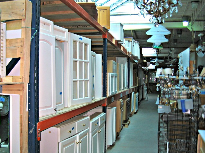 You want cabinets? We got cabinets! You want lighting fixtures! You can't find a place to rest your eyes without seeing a dozen of them.